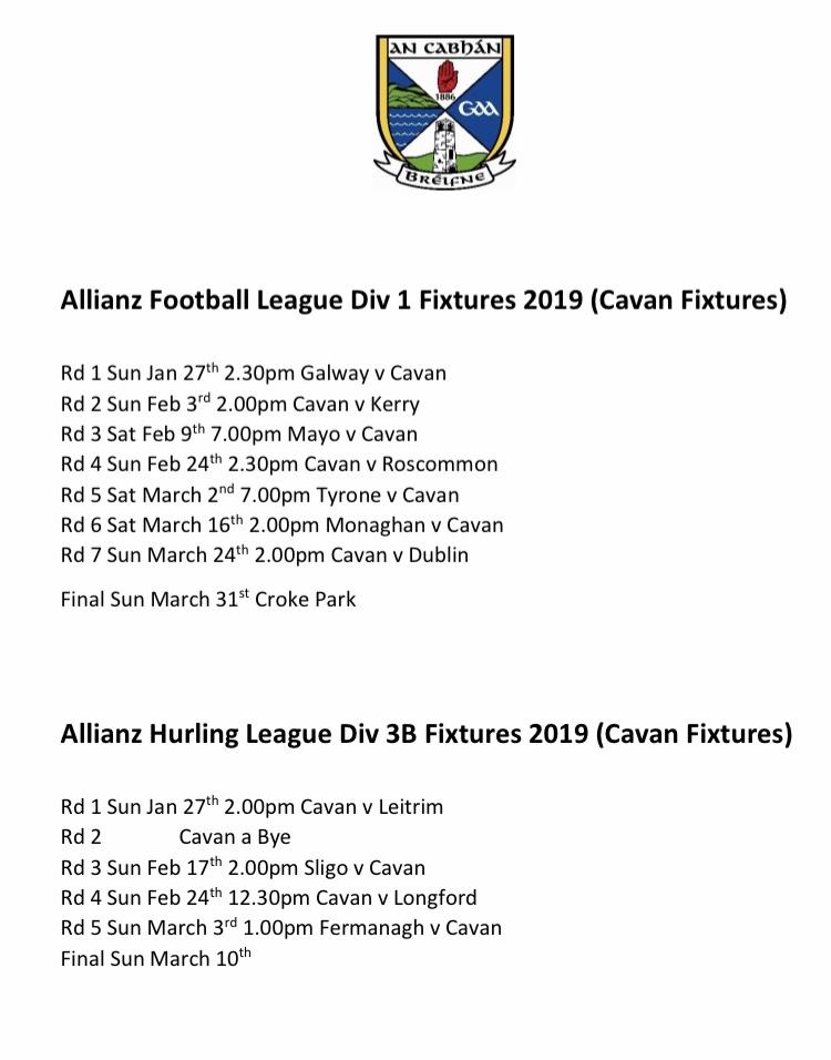 Cavan Allianz League Fixtures 2019 Cavan Gaa
