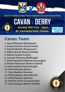Minor Panel for Ulster Final