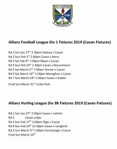 Cavan Allianz League Fixtures 2019