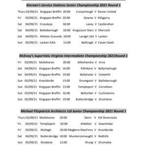 Round 1 Championship Fixtures